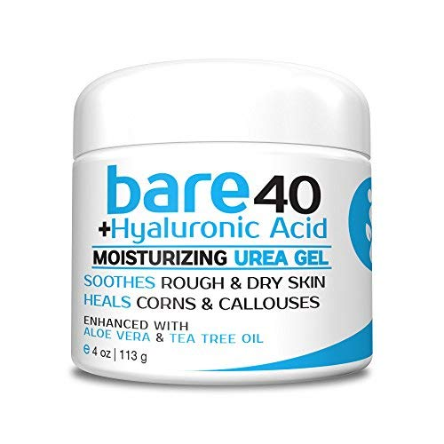 Bare Urea 40% Percent Plus Hyaluronic Acid Cream for Hands, Feet, Elbows and Knees - Corn & Callus Remover - Skin Exfoliator & Moisturizer - Repairs Thick, Callused Dead & Dry Skin