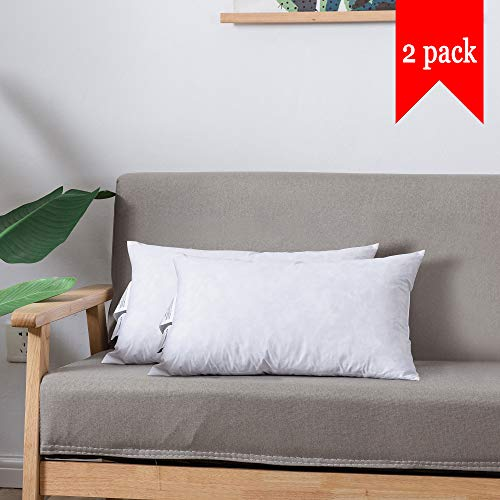 DOWNCOOL 100% White Cotton Hypo-allergenic Stuffer Throw Pillow Insert, Rectangle Down and Feather Filled Decorative Bed Sofa Insert, Lambar, Pack of 2, 12x20 Inch
