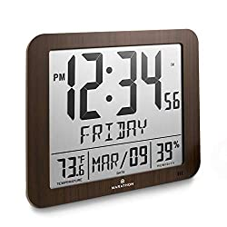 Marathon CL030067WD Slim Atomic Full Calendar Clock with Large 3.25 Digits, Indoor Temperature and Humidity (Wood Tone) - Batteries Included