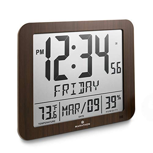"Marathon CL030067WD Slim Atomic Full Calendar Clock with Large 3.25"" Digits, Indoor Temperature and Humidity. Batteries Included. Color- Wood Tone"