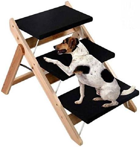 Escalera plegable de madera portátil 2 en 1 para mascotas, para perro, gato, 3 rampas, escalera: Amazon.es: Jardín
