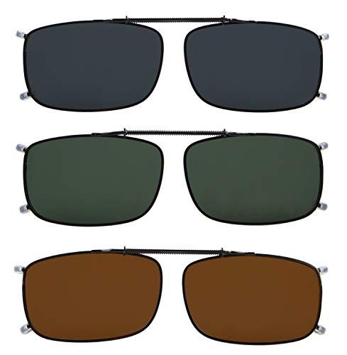 Eyekepper Grey/Brown/G15 Lens 3-pack Clip-on Polarized Sunglasses 2 1/4