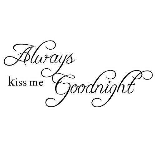 Always Kiss (Lchen Always Kiss Me Goodnight Wall Sticker Decal Home Decor Removable)