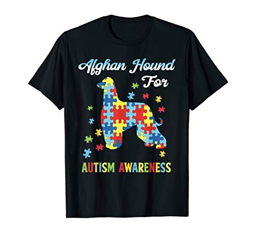 Afghan Hound For Autism Awareness T-Shirt Dog Lover ()