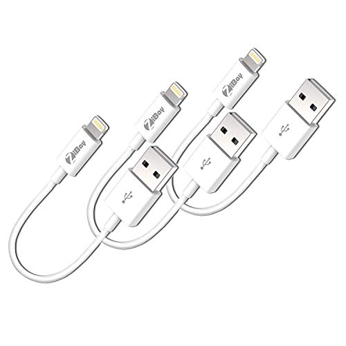 (Short Lightning Cables, USB Charging Data Cord Compatible With iPhones, iPads, and iPods [3-Packs] )
