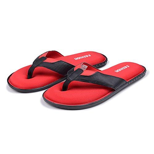 Yiruiya Heren Slippers Lichtgewicht Zachte Casual Sandalen Slippers Zwart-rood