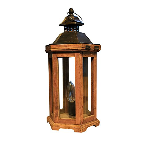 JinYuZe Retro Wooden Table Light E12 Candle Style 1-Light Plug-in Table Lantern Lamp with Six Side Glass (Lamp Light Six Foyer)