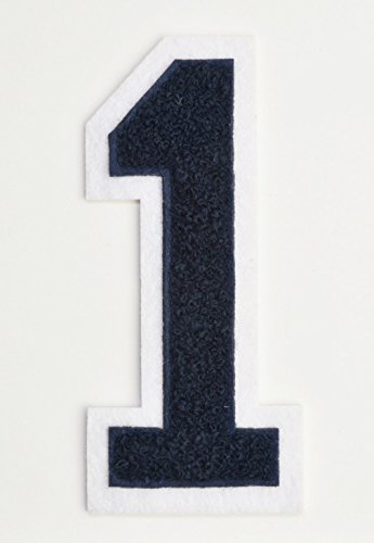 Varsity Number Patches - Dark Navy Blue Embroidered Chenille Letterman Patch - 4 1/2 inch Iron-On Numbers (Navy Blue, Number 1 Patch) - Varsity Patches Jacket