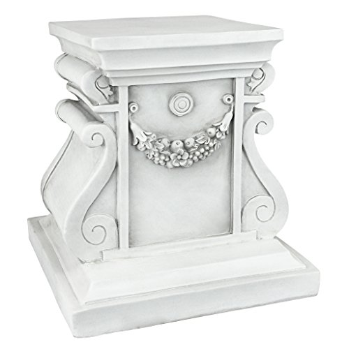 Design Toscano Classic Statuary Garden Plinth Base Riser, Medium 12 Inch, Polyresin, Antique Stone -