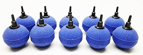 Aquaristikwelt24 Lot de 10diffuseurs d'air sphériques Bleu Taille 5cm Sibo