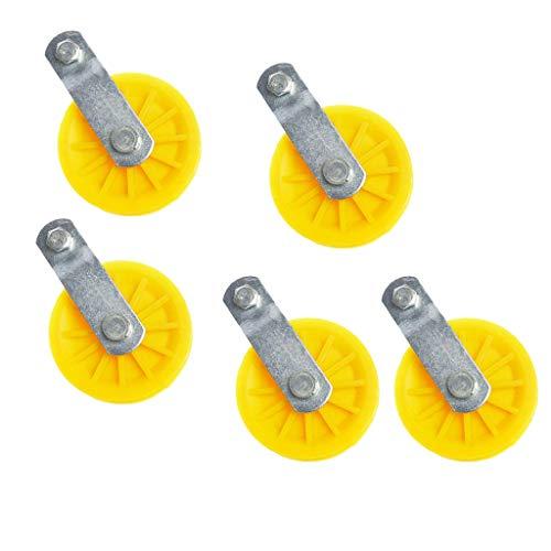 Flameer 5pcs Pulley Roller Block Sheave Metal Nylon Single Wheel 87mm Yellow