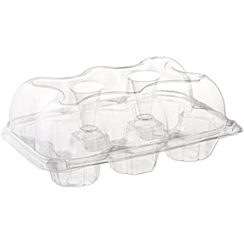 Oasis Supply 6-Compartment Hinged High Dome Clear Cupcake Container, Clear