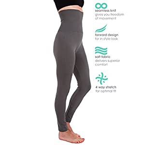 5 Pack High Waist Fleece Lined Thick Tummy-Compression Brushed Leggings by Homma (S/M/L, Black x3, Navy, Charcoal)