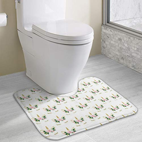 Dbou Seamless Art Print Flower Unicorns U-Shaped Absorbs Moisture Non Slip Bathroom Rugs Toilet Carpet Floor Mat, 15.8
