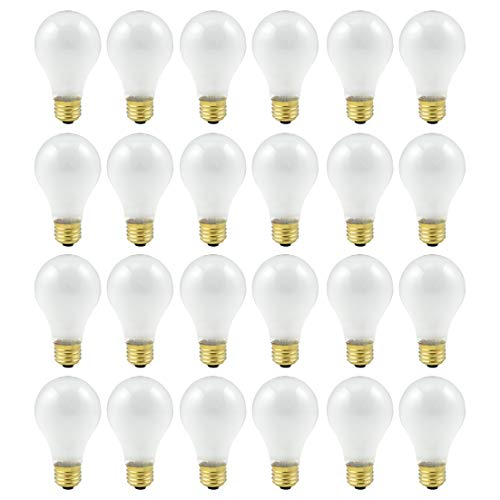 Incandescent Rough - 60 Watt A19 Medium Base 130 Volt Rough Service 5000 Hour Incandescent - Standard Household E26 Bulb (Frost, 24 Pack)
