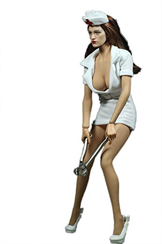 Olyer Dress Clothes For Phicen 1:6 Female Figure Steel Ribs Big Bust and Mid Bust Size Handmade (Big Bust, Nurse)