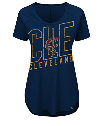 NBA Cleveland Cavaliers Women's Fanatic Force Short Sleeve Scoop Neck Tee, Medium, Athletic Navy