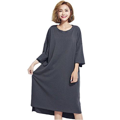 Vestido De La Manera De Gran Tamaño Sueltos HGDRSpring Y Verano De Las Mujeres Grey
