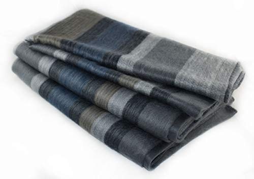 (Qisu Alpaca Wool Blanket Throw | Large, Beautiful, Warm | 85 x 65 inches | Ultra-Soft, Hypoallergenic and Breathable | Non-Itchy or Scratchy Fabric | Made in Ecuador (Brown Blue Grey Brown))