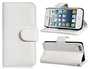 Faux Leather Flip Case with Magnetic Closure for iPhone 5 (White)
