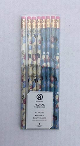 U brands Floral No 2 HB Pencils with Erasers 8 count