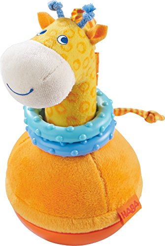 Poly Chime Roly - HABA Roly Poly Giraffe Soft Wobbling & Chiming Baby Toy with Teething Rings