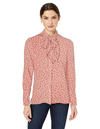 Amazon Brand - Lark & Ro Women's Long Sleeve Tie Neck Blouse, Coral/White Abstract Leaf Print 4 ()