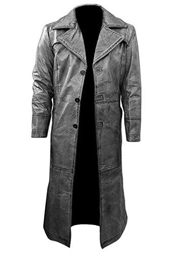 Men's Gray Long Coat, Leather Honey Treated, Men Vintage Outwear Overcoat, Original Lambskin Leather (S, Gray Long Coat)