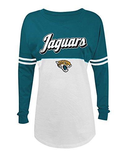 A-Team Apparel NFL Jacksonville Jaguars Women's Long Sleeve Varsity Crew Tee, Medium, White