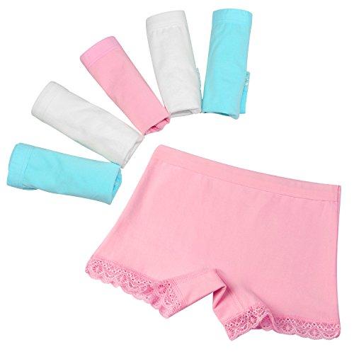 BOOPH Girls Boyshort Lace Trim Cotton Boxer Briefs Kids Toddler Underwear Panties 2-11 Years Pack of 6