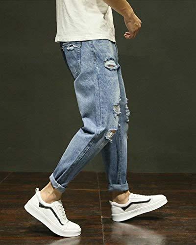 Pantaloni Semplice Lavato Denim Gamba In Hellblau Inglese Jeans Uomo Da A Lunghezza Tutta Affusolati Dritta Stile pgYrpq
