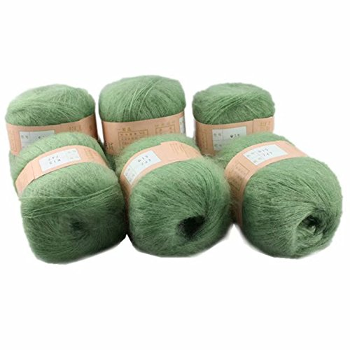 Celine lin 6 Skeins Smooth &Warm Angola Mohair Plush Cashmere Wool Knitting Yarn 300g,Grass - Grass Mohair