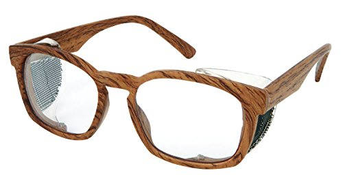 MCR Safety PN1420P Pantera PN4 Glasses with Max3 Anti-Fog Coating, Matte Light Wood Grain Frame/Clear - Safety Glasses Retro