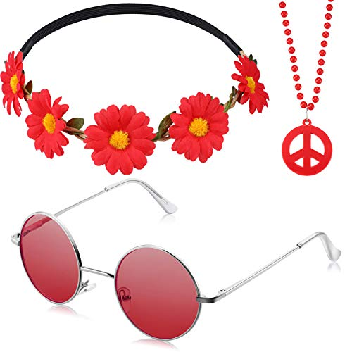 3 Pieces Hippie Costume Set includes Peace Sign Bead Necklace, Flower Crown Headband and Hippie Sunglasses 60s 70s Party Accessories