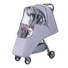 Fitfirst Funda de Cochecito para Bebé Impermeable, Cubierta Universal de Cochecito para Proteger contra Lluvia, Viento y Polvo, Gris