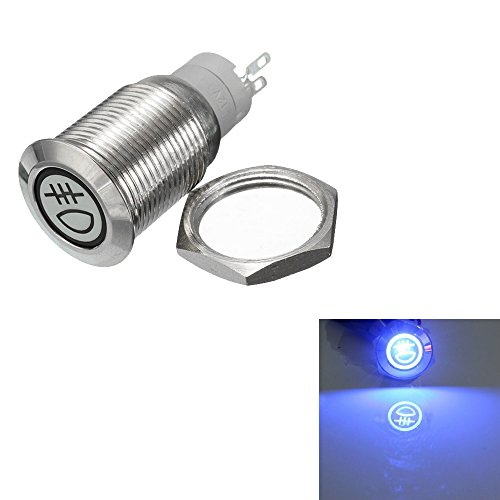 (ESUPPORT 12V Car Vehicle Blue LED Light Rear Fog Push Button Metal Toggle Switch 16mm)