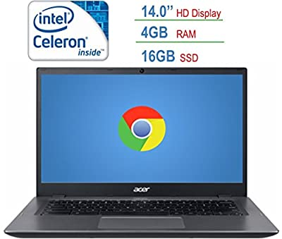 2018 Newest Acer 14-inch HD Chromebook LED Anti-glare Display, Intel Dual-Core Celeron 3855u 1.6GHz processor, 4GB RAM, 16GB SSD, HDMI, USB 3.0, Webcam, 802.11a Wifi, Bluetooth, Google Chrome OS