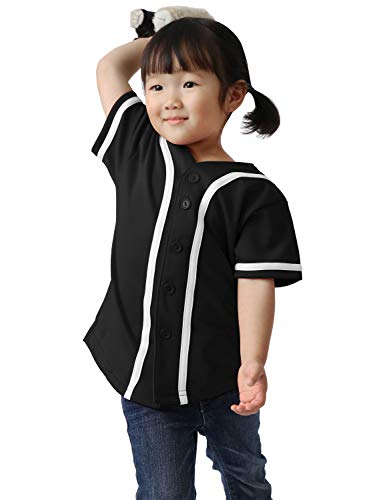 Ma Croix Kids Premium Baseball Jersey Active Button Shirt Team Uniform Little League (4 Toddler, 5up01_blk.WHI)