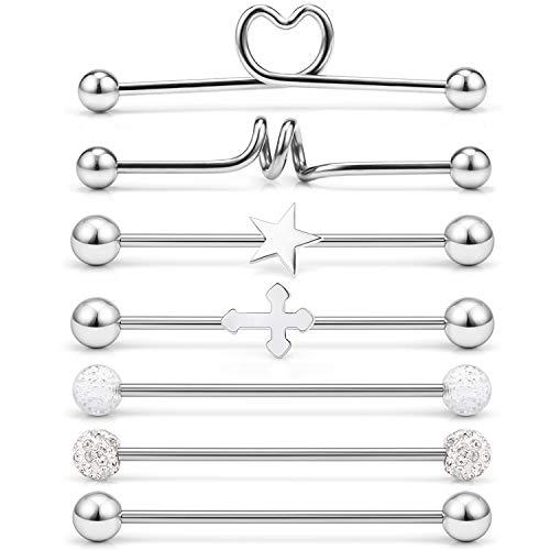 (Dyknasz Industrial Barbell Earrings Set for Women Men Girls 14G Surgical Steel Industrial Cartilage Bar Body Piercing Jewelry with Heart CZ Spiral Star Cross Glitter 7 Pieces Silver-Tone)