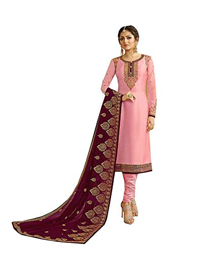 (Indian/Pakistani Ethnic wear Silk Embroidered Salwar Kameez Indian Dress Ready to Wear Salwar Suit (Pink, M-40))
