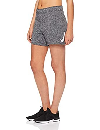 Nike Women's Dri-FIT Swoosh Short 933685-010, Black/Heather/White, XS