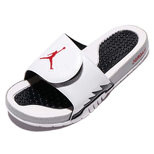 Jordan Nike Men's Hydro V Retro White/University Red Black Sandal 9 Men US by Jordan