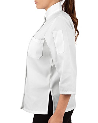 KNG Womens White Classic ¾ Sleeve Chef Coat, S by KNG (Image #2)