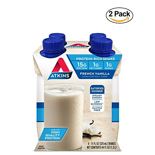 Atkins Gluten Free Protein-Rich Shake, French Vanilla, Keto Friendly, 11 fl oz. 4 Count - 2 Pack