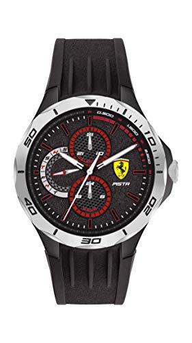 Scuderia Ferrari Men's Pista Quartz Watch with Silicone Strap, Black, 18 (Model: 0830722)