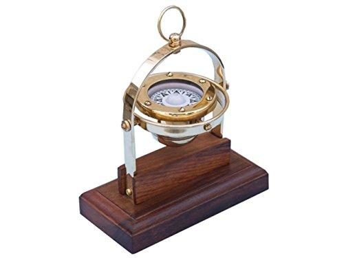 (Hampton Nautical 3xglass-101 Antique Brass Executive Desk Gimbal Compass 8