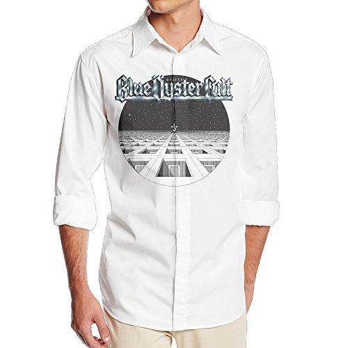 MORA Mens Vintage Blue Rock Band OysterCult White Long Sleeve Dress Shirt M
