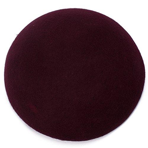 (Cute Wool Felt Pillbox Hat millinery Teardrop Fascinator Base Craft Supply (Wine))