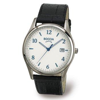 3562-01 Mens Boccia Titanium Watch, White Dial