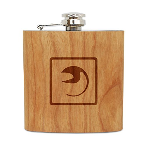 WOODEN ACCESSORIES COMPANY Cherry Wood Flask With Stainless Steel Body - Laser Engraved Flask With Gulper Eel Design - 6 Oz Wood Hip Flask Handmade In USA